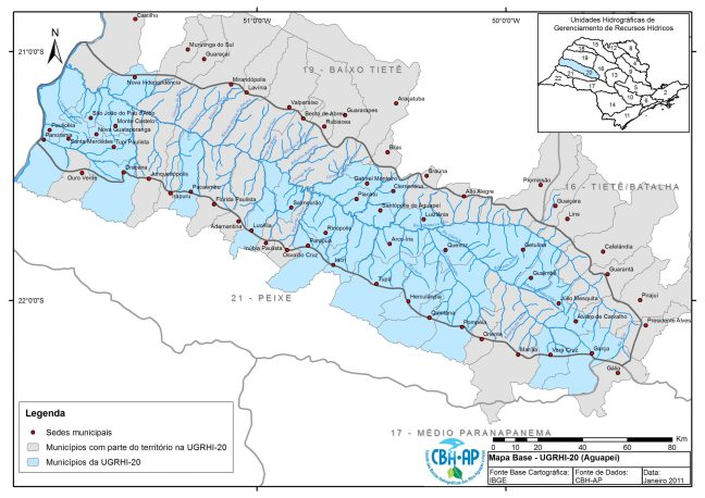 Mapa mostra cidades que estão no sistema hídrico do Aguapeí. oeste do Estado de São Paulo.