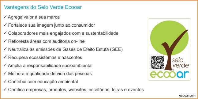 Arte mostra lista de vantagens do Selo Verde Ecooar