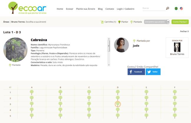 Imagem mostra website Ecooar que mostra cliente recebendo árvore