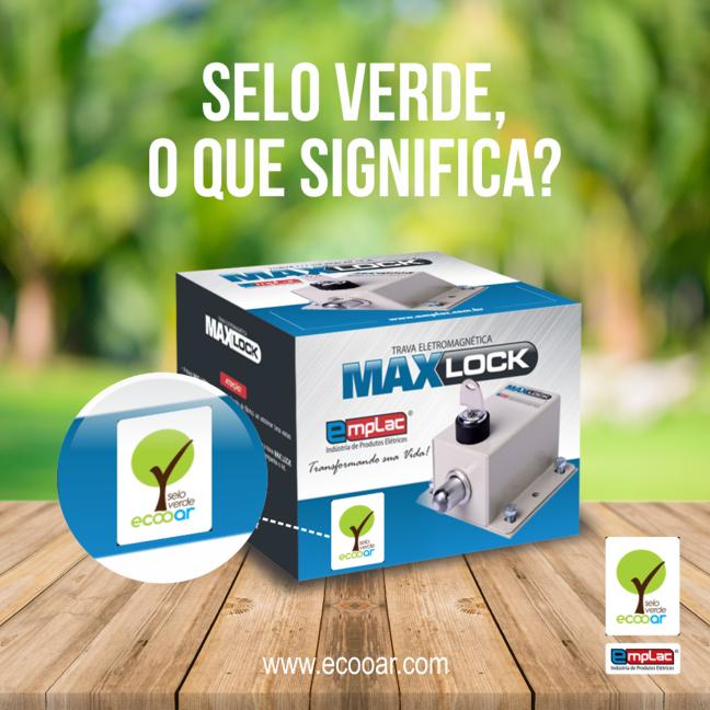 Arte mostra caixa de produto da Emplac com o Selo Verde Ecooar