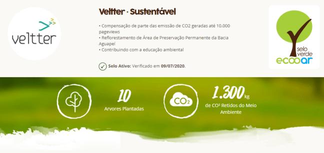Imagem mostra imagem da área de reflorestamento da Veltter com o selo verde Ecooar