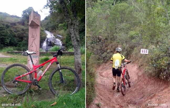 Fotos mostram uma bicicleta encosta no marco da Estrada Real e ciclista empurrando uma bicicleta na estrada de terra