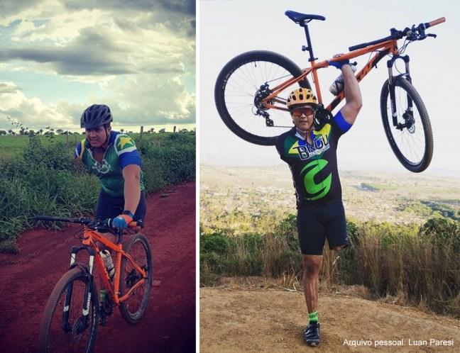 Fotos mostram ciclista Luan Paresi pedalando e segurando bicicleta