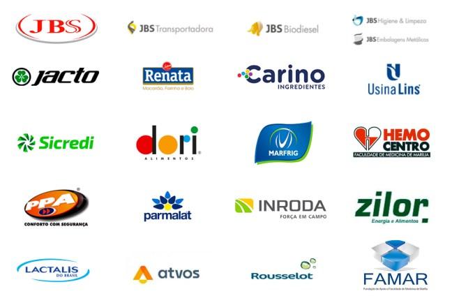 Imagem mostra logos de várias empresas parceiras da Veltter