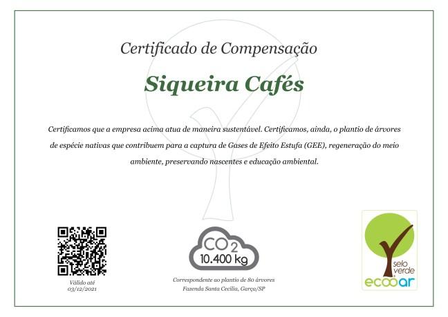 Imagem mostra certificado de compensação