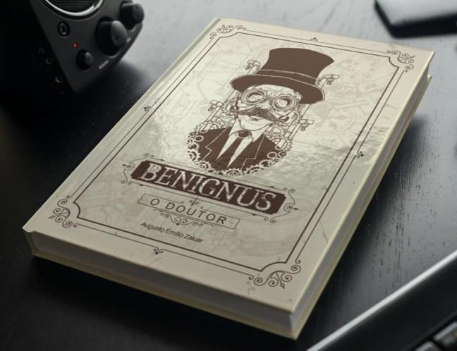 Foto mostra capa do livro Benignus da Cartola Editora