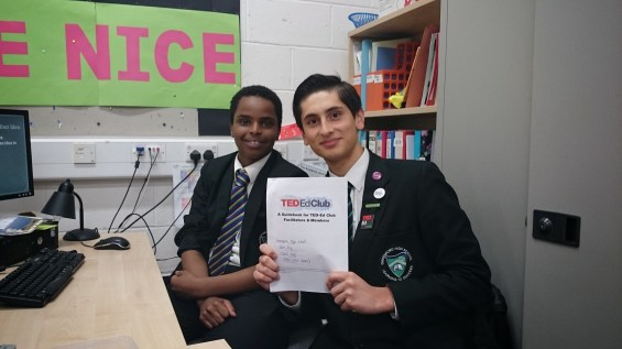 Bazil Saiq (left) poses with a fellow TED-Ed Club Member. Photo courtesy Greenford High School's TED-Ed Club.
