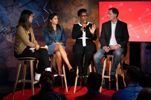 Stephanie Ng speaks with Tonya Breland, Christina McCabe, and David Aderhold at the TED Masterclass Showcase. Photo: Ryan Lash / TED
