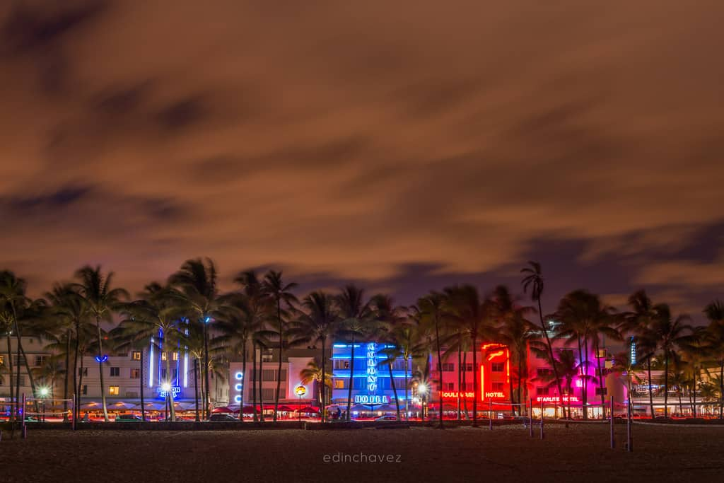 A Beautiful view of Ocean Drive in Miami Beach Florida at sunset.