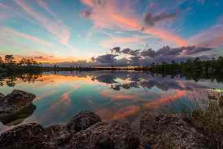 Everglades National park fills up the sky with colors at sunset