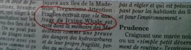 Photo montrant une erreur de grammaire imprimée dans un journal : «le naufrage du Irving Whale» et manière de corriger cette erreur.