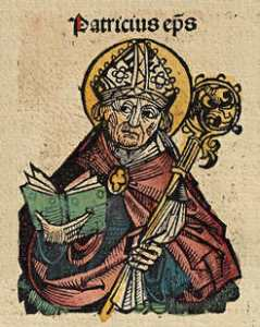 This beautiful woodcut of St. Patrick appears in the Nuremberg Chronicle, was printed in 1493, more than a thousand years after the saint's death. Woodcut by Michel Wolgemut, Wilhelm Pleydenwurff, Nuremberg Chronicle. Public domain.