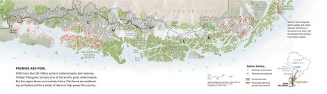Map of Chilean fjords and ice fields by Martin Gamache, National Geographic