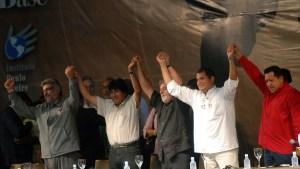 Hugo Chavez, right, stands united with fellow South American leaders Fernando Lugo  (Paraguay), Evo Morales (Bolivia), Luiz Inacio Lula da Silva (Brazil), and Rafael Correa (Ecuador).Photograph courtesy Agencia Brasil