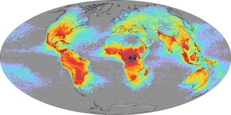 The map above shows the average yearly counts of lightning flashes per square kilometer based on data collected by NASA satellites between 1995 and 2002. Places where less than one flash occurred (on average) each year are gray or light purple. The places with the largest number of lightning strikes are deep red. NASA image by Marit Jentoft-Nilsen, based on data provided by the Global Hydrology and Climate Center Lightning Team