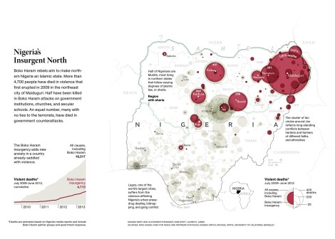 """Boko Haram, an organization President Barack Obama calls """"one of the worst regional or local terrorist organizations"""" in the world, aims to make northern Nigeria an Islamist state. Map by Maggie Smith, National Geographic"""
