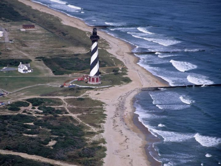 1991 aerial view of Cape Hatteras Light Station