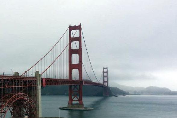 Photograph of the Golden Gate Bridge.