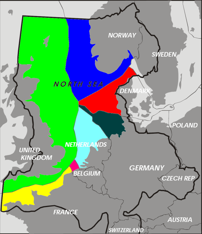 This nice map displays nations with oil interests in the North Sea. The majority of UK interests (in green) would fall under Scottish territorial waters—its exclusive economic zone (EEZ)—if Scotland votes for independence. Map by Inwind, courtesy Wikimedia. This work has been released into the public domain.