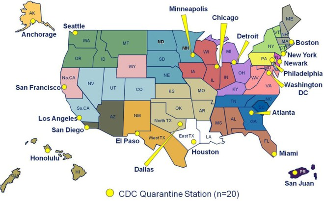 The Centers for Disease Control and Prevention (CDC) maintains 20 quarantine stations across the United States. These are not the only places people can be quarantined, however. The Nebraska Medical Center in Omaha, Nebraska, for instance, isolated and successfully treated two Ebola patients. Where is your closest quarantine station? What color is your district? Mapcourtesy Centers for Disease Control and Prevention