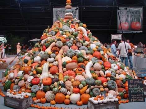 This towering stack of gourds and squash loomed over the first annual National Heirloom Exposition. The event, attended by more than 10,000 people, was held at the Sonoma County Fairgrounds in Santa Rosa, California. Photo by Lucia Kaufmann.