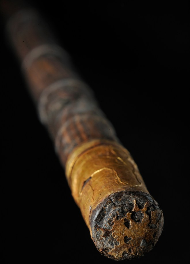 (No, this is not King Tut's stogie.) This bamboo cane, one of more than 100 discovered in the tomb of Tutankhamun, was made by King Tut himself. The way it is worn at the tip indicates it was actually used. Photograph by Kenneth Garrett, National Geographic