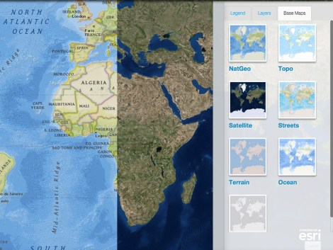 Select from a variety of different base map styles for different views of the world.