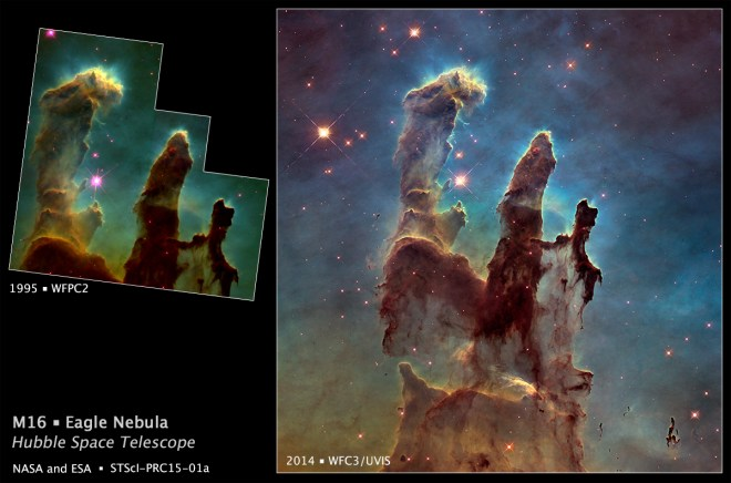 This image compares Hubble's 1995 and 2014 images of the Pillars of Creation. Photograph by NASA, ESA, and the Hubble Heritage Team (STScI/AURA)