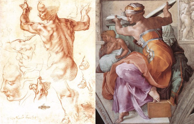 Michelangelo sketched the toes, hands, face, and torso of the Libyan sibyl long before he painted her in plaster (and clothed) on the Sistine Chapel ceiling. Fresco by Michelangelo Buonarroti (Sistine Chapel, Vatican City)