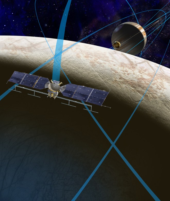 This artist's rendering shows a concept for a spacecraft that would make multiple close flybys of Europa. The blue lines show the path of the spacecraft, and I'm pretty sure the little moon between Europa and Jupiter is the wildly volcanic Io. Illustration courtesy NASA/JPL-Caltech
