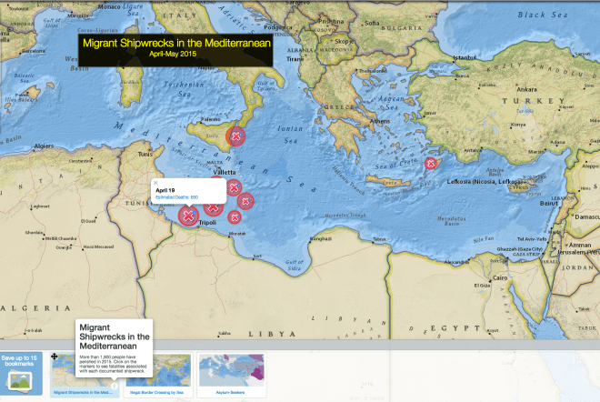 Today's MapMaker Interactive map shows the approximate location and number of fatalities of shipwrecks of migrants in the Mediterranean over the past month. The second bookmark shows where undocumented immigrants are coming from, and the third bookmark highlights our map layer on asylum-seekers around the world.
