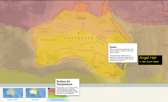 "Customize this map and experiment with layers to understand the climate and weather conditions common to the ""ballooning"" taking place in southeast Australia."