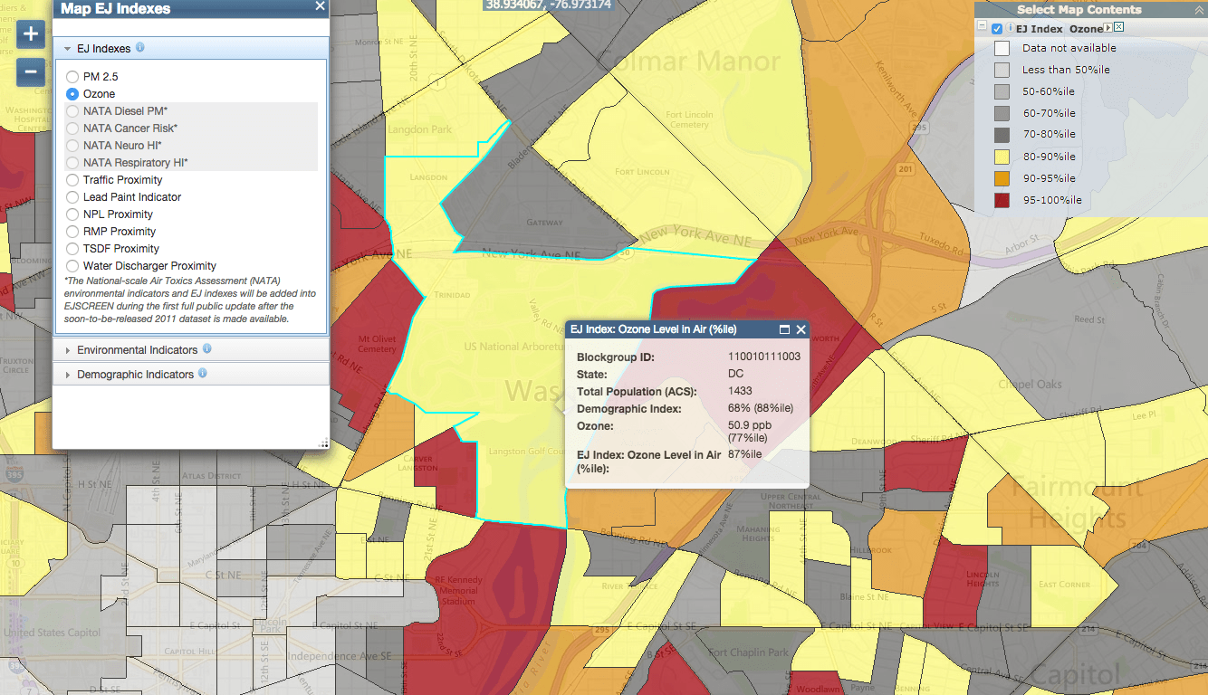 Map showing ozone level at National Mall