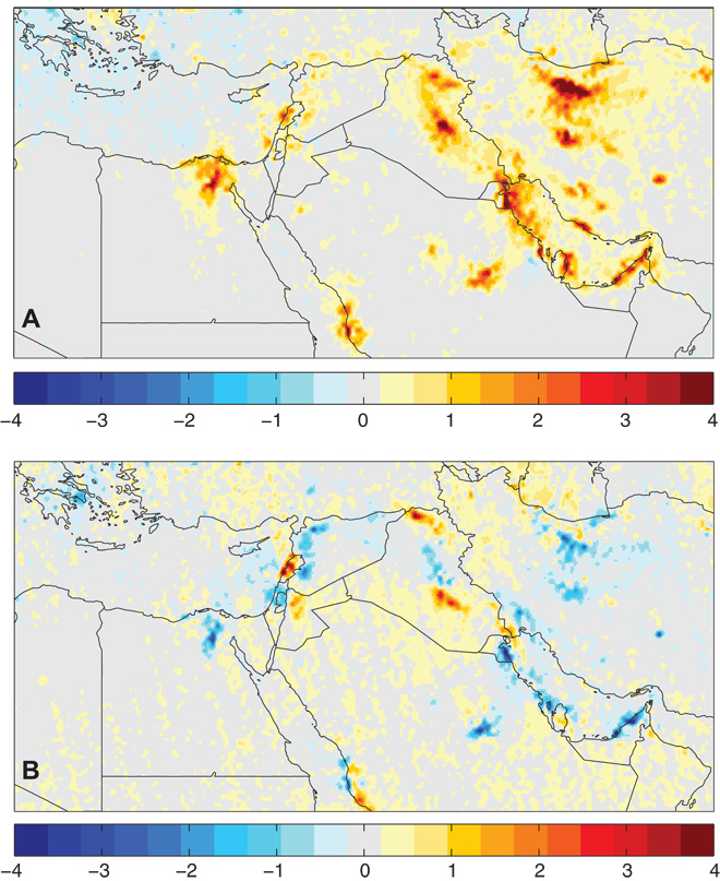 These maps show changes in the density of nitrogen dioxide (NO2) in the atmosphere over the Middle East. Consult the entire, fascinating, and easy-to-read report here. The top image displays changes between 2005 and 2010. It is dominated by yellows, oranges, and reds, indicating increases in NO2. The bottom image displays changes between 2010 and 2014. The blue colors indicate a drop in the density of NO2. Map by Jos Lelieveld, Steffen Beirle, Christoph Hörmann, Georgiy Stenchikov and Thomas Wagner