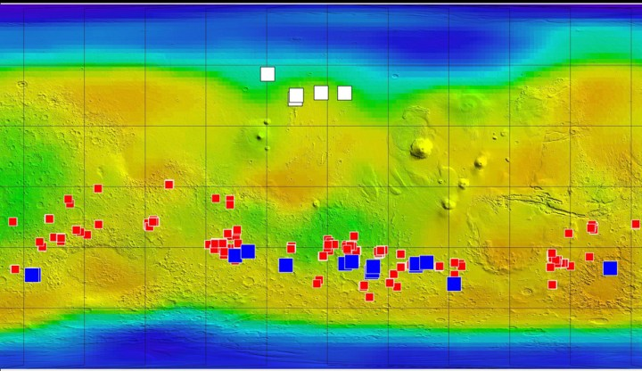 "Martian maps can be a little disorienting, at first! Never fear, your best orienteering landmark is one of the biggest canyons in the solar system, the gorgeous Valles Marineris, visible at the far right of this map. The background coloring on this map corresponds to concentrations of subsurface water: Blue, at high latitudes north and south, indicates higher concentrations of water ice, while orange indicates lower concentrations. White squares mark locations of small, fresh impact craters that exposed water ice close to the Martian surface. Red squares mark probable locations of chloride. Such salt deposits could have resulted from evaporation of salty water. Blue squares mark locations of Mars' so-called ""seasonal seeps."" Researchers think that these features may result from action of briny water. Map courtesy NASA/JPL-Caltech/ASU/UA/LANL/MSSS"