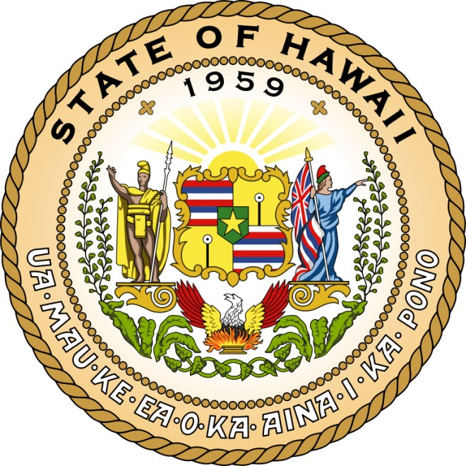 """The Great Seal of the State of Hawaii is loaded with symbolism. Use it and the links provided to start a great report on the Aloha State! 1959 was the year Hawaii became a U.S. state. The Hawaiian motto at the base of the seal, """"Ua Mau ke Ea o ka ʻĀina i ka Pono,"""" is commonly translated as """"The life of the land is perpetuated in righteousness."""" The man on the left side of the seal is Kamehameha I, the monarch who unified the Hawaiian Islands. On the right is the Western personification of Liberty. The red, white, and blue stripes represent the flag of Hawaii, and the eight stripes represent the eight major islands. The designs on the yellow background are puloʻuloʻu, or kapu sticks. (Kapu sticks were symbols of authority in pre-contact Hawaiian culture.) The star in the middle of the seal represents Hawaii's place as the 50th state in the U.S., and the 50th star in the U.S. flag. The eight taro leaves at the bottom of the design represent Hawaii's eight major islands. Next to the taro leaves are banana leaves—Hawaii is the only major exporter of bananas in the U.S., and banana foliage is a common plant. Finally, maidenhair ferns, rising from the banana leaves, are common and popular plants throughout Hawaii. Illustration courtesy State of Hawaii"""