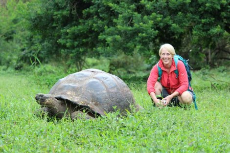 In the Galápagos Islands, there are abundant opportunities to practice quiet observation. In the highlands of Santa Cruz Island, I had a great chance to study a giant tortoise. Photograph by Valérie Raymond.