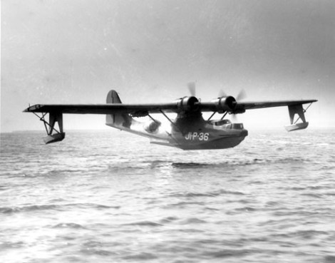 """Here's what a Catalina seaplane—nicknamed the """"Flying Boat""""—looked like making a landing at the U.S. Naval Air Station Jacksonville, Florida, the 1940s. Photograph courtesy U.S. Navy"""
