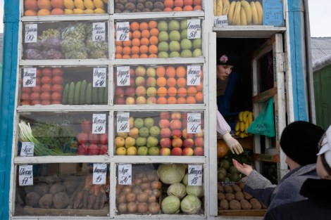 More than 20% of Russia's fruits and vegetables (like these being sold at a stand in the town of Vorkuta) come from Turkey. Russian food sanctions against Turkey could hurt both economies. Photograph by Gerd Ludwig, National Geographic