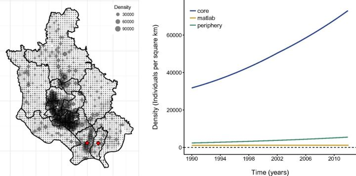 """This population density map shows the core and periphery of Dhaka, Bangladesh. Each gray dot refers to the density at a resolution of one square kilometer. Diamonds in red label the peripheral thanas of Narayanganj Sadar and Bandar. """"Matlab"""" is the rural area south of Dhaka. Illustration by Pamela P. Martinez, Aaron A. King, Mohammad Yunus, A. S. G. Faruque, and Mercedes Pascual, """"Differential and enhanced response to climate forcing in diarrheal disease due to rotavirus across a megacity of the developing world"""" PNAS 2016 113 (15) 4092-4097; published ahead of print March 28, 2016, doi:10.1073/pnas.1518977113"""