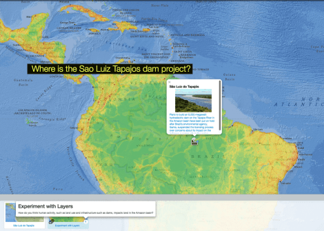 Use today's Mapmaker Interactive map to identify the Tapajos River and human activity surrounding it.