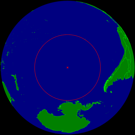 The oceanic pole of accessibility, the point in the ocean furthest from any landmass, is the earthly home of Cthulhu. Map by Timwi, courtesy Wikimedia. Public domain.