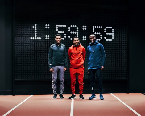 Nike's Breaking2 quest to break the two-hour marathon barrier involves three top athletes: Lelisa Desisa (2:04:45), Eliud Kipchoge (2:03:05), and Zersenay Tadese (half-marathon 58:23). Photograph courtesy Nike
