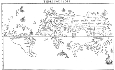 "The Hunt-Lenox Globe, built in 1510, is the only ancient cartographic device with the words ""hic sunt dracones""—here be dragons. The language, transcribed here, is in the southeast corner of Asia, just where you'll find Komodo dragons. Map of the Hunt-Lenox Globe by B.F. De Costa. Public domain"