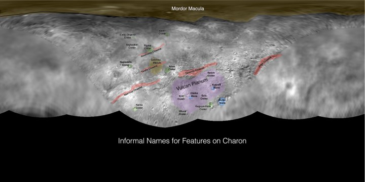These maps of Pluto and Charon indicate initial, informal names used by the New Horizons team. And THEY ARE AWESOME. Map by NASA, SETI Institute