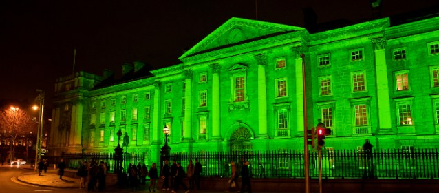 Trinity College Dublin lit in green lights for St Patrick's Day