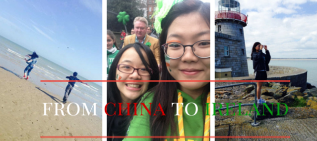 Collage of three images showing Irish landscapes and international students