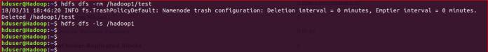 Deletes HDFS file