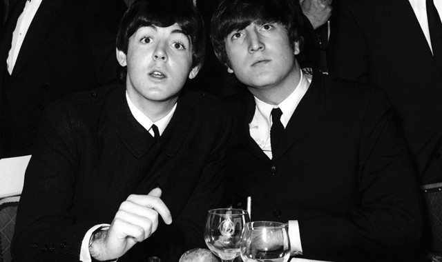 13th September 1964: Beatles Paul McCartney (left) and John Lennon (1940 - 1980) at the Variety Club Showbusiness Awards held at the Dorchester, London. (Photo by William Vanderson/Fox Photos/Getty Images)
