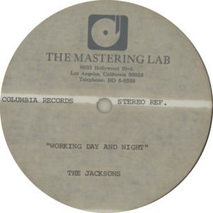 "Working Day & Night - Very scarce high-grade methyl cellulose metal based lacquer double-sided 12"" acetate for the 1982 US single release"